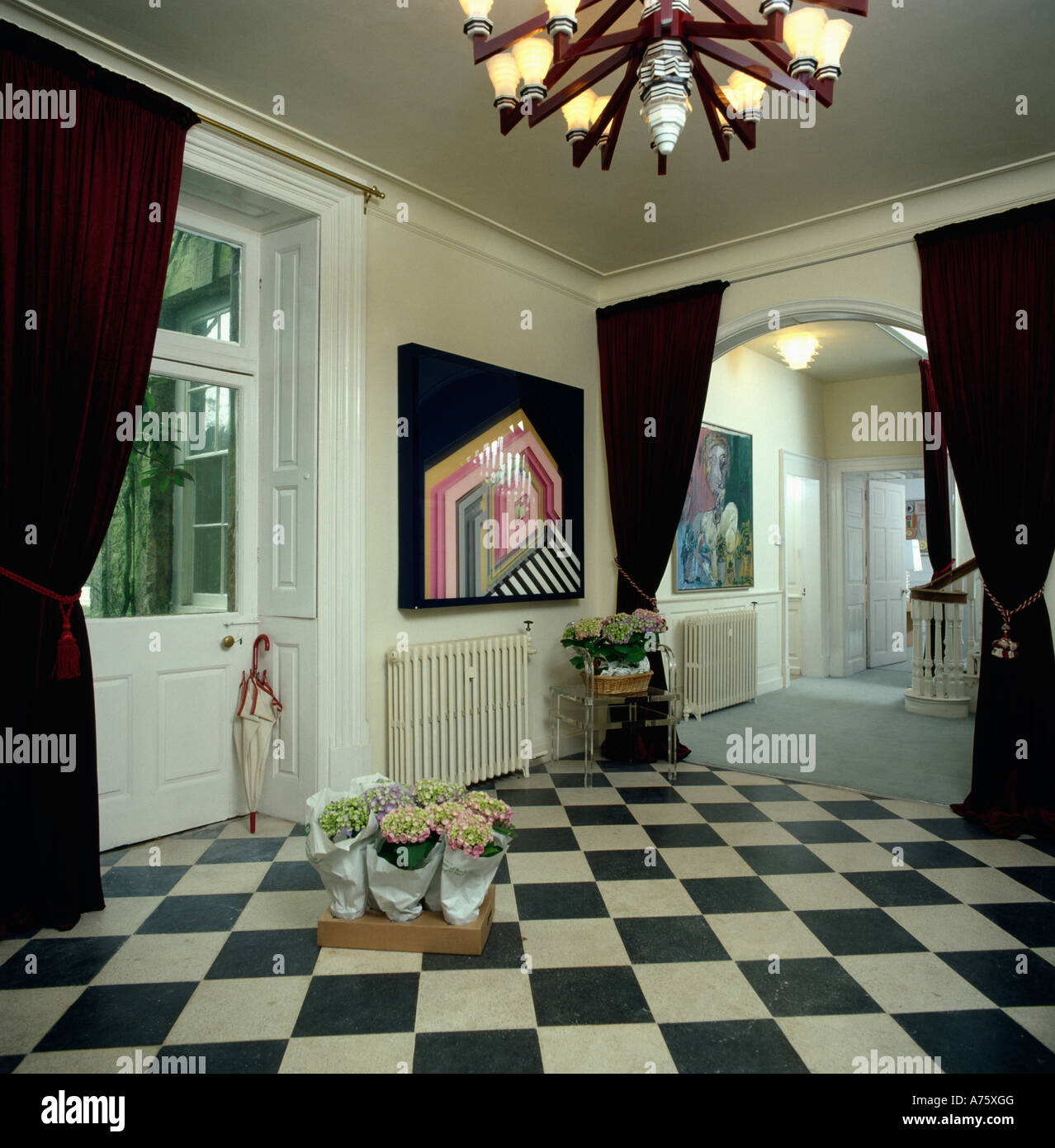 Black and white checked curtains - Black And White Check Floor In Eighties Hall With Black Curtains And Ceiling Light