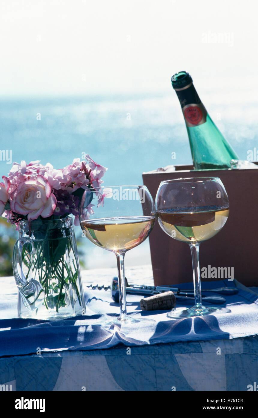 Pink roses in glass vase beside two glasses of white wine and pink roses in glass vase beside two glasses of white wine and bottle in cooler beside the ocean reviewsmspy