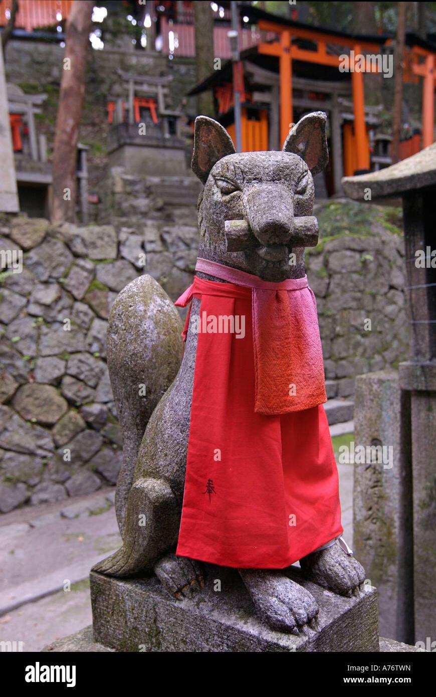 Baby inari fox for sale - Stone Sculpture Of A Fox With Red Bib Inari Statue Fushimi Inari Taisha Shrine In Kyoto