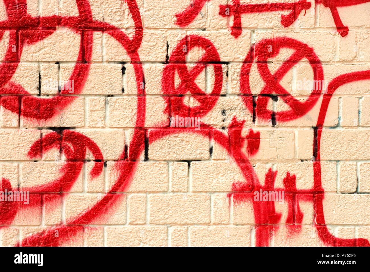 Grafiti wall red - Stock Photo Wall Painting White Red Brick Wall Red Paint On Tan Wall Street Art Graffiti