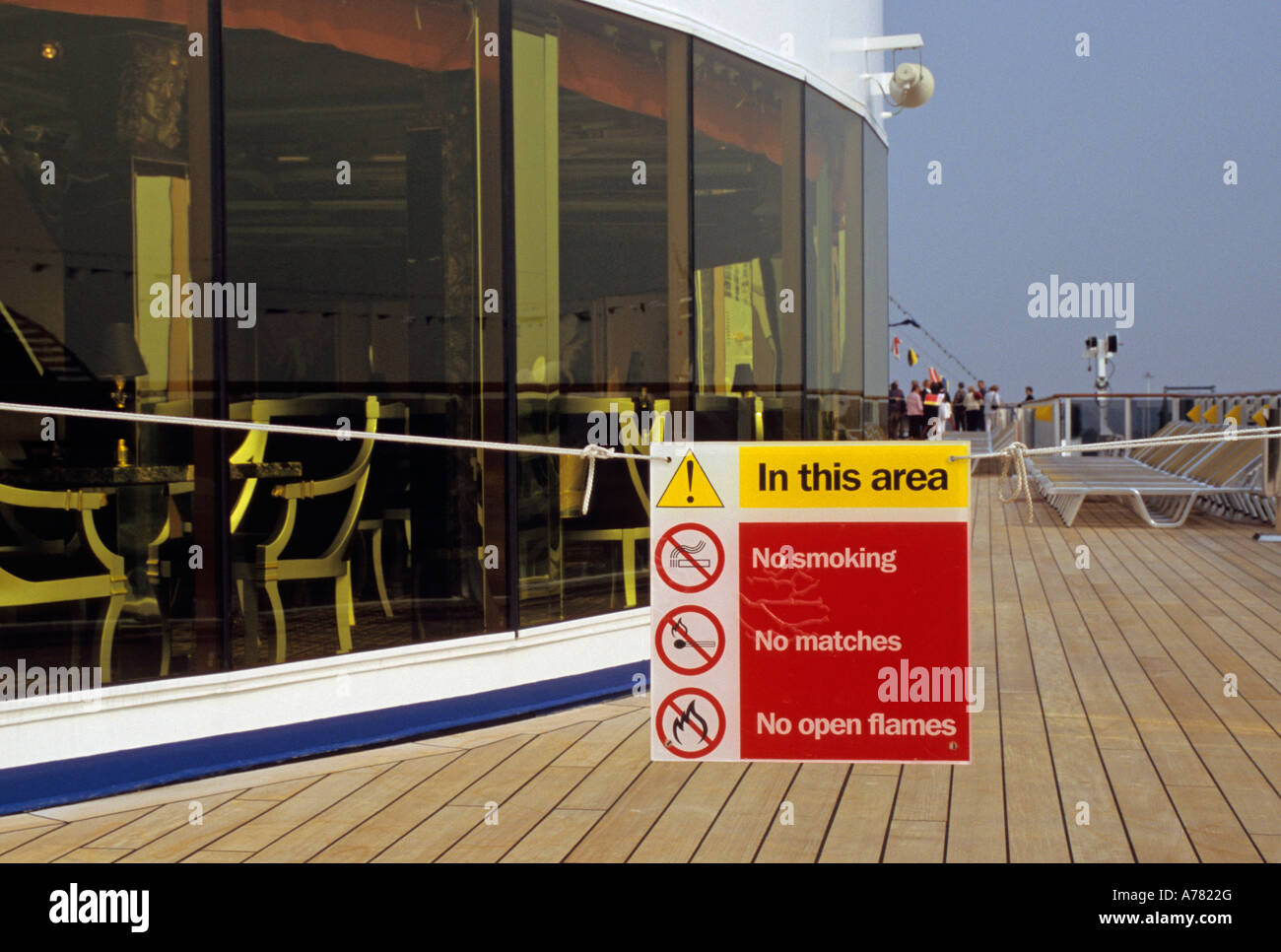 No Smoking Warning Notice On The Deck Of A Cruise Ship Stock Photo - Is there smoking on cruise ships