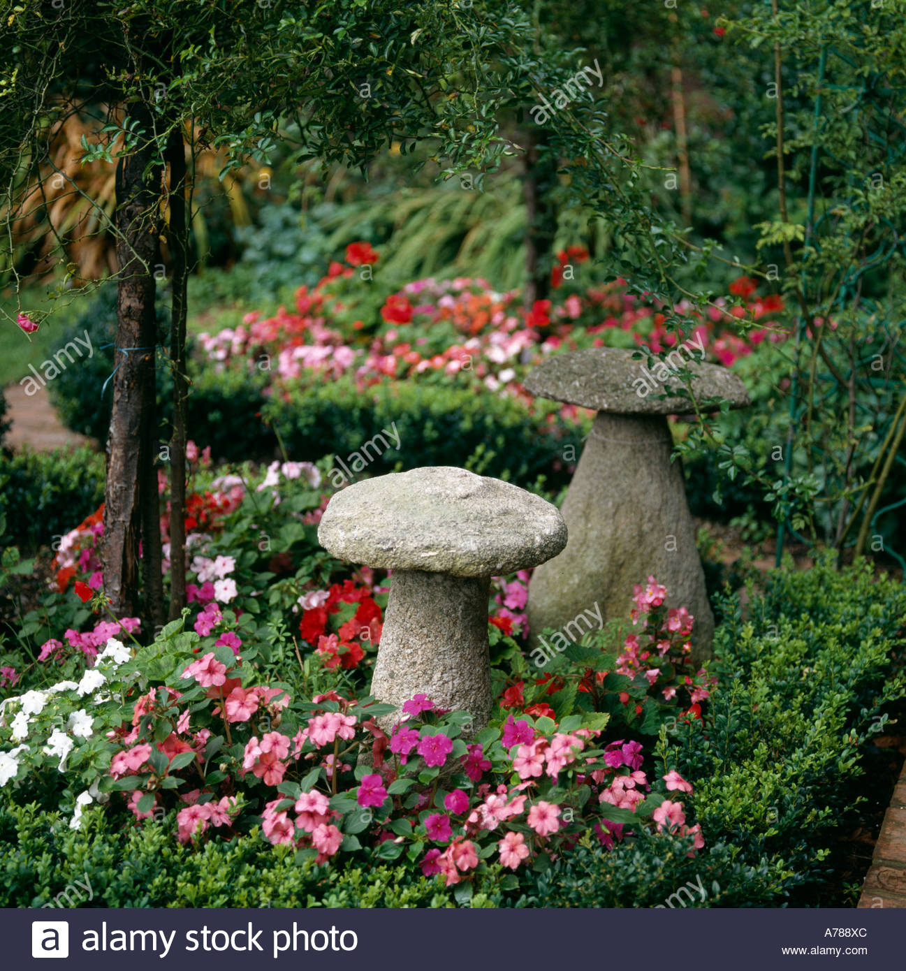 Decorative Stone Garden Toadstools Or Mushrooms In Colorful Garden
