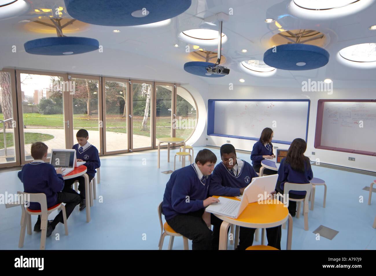 Modern Classroom Kids : Schoolboy and schoolgirl children pupils in modern