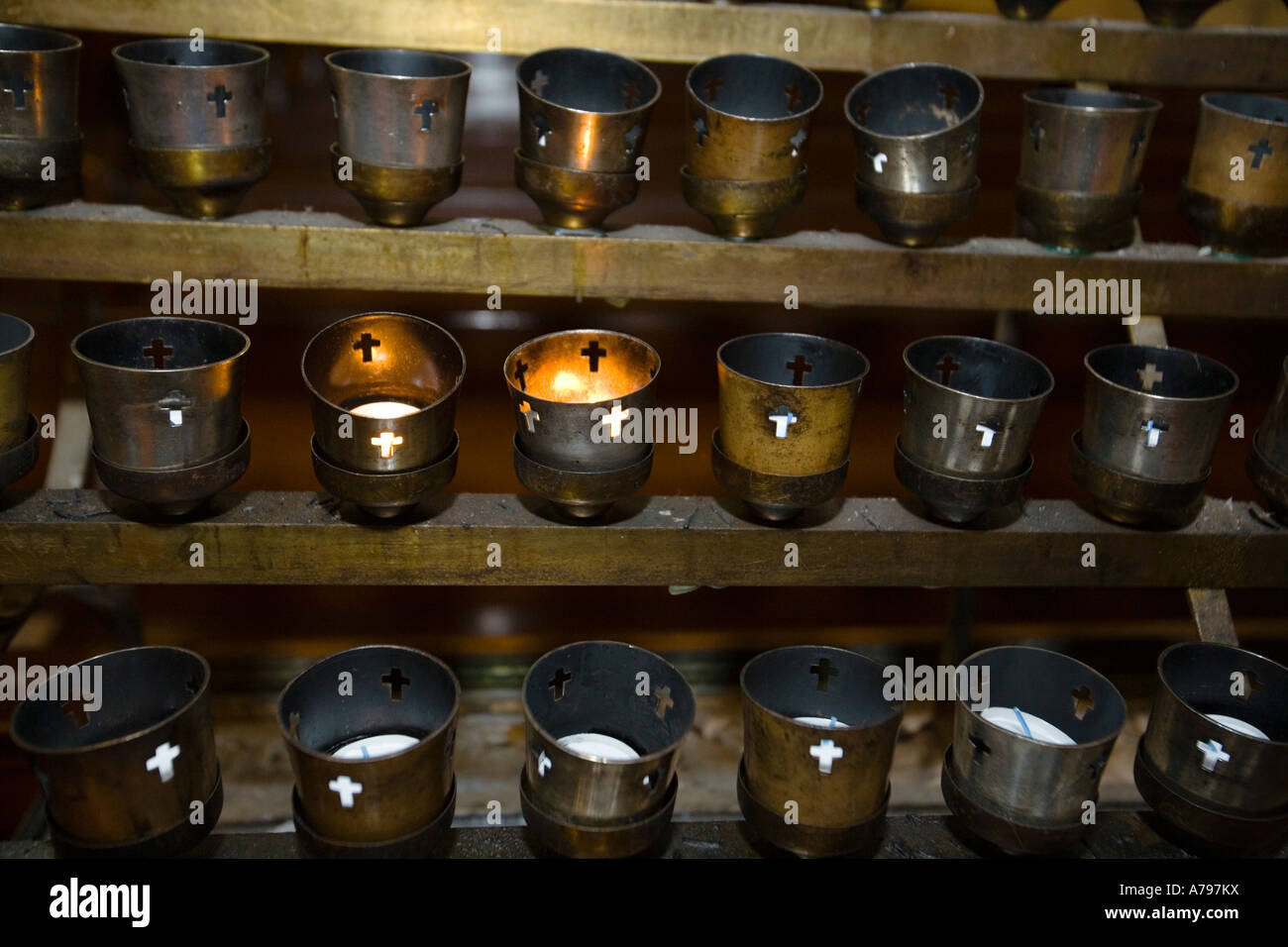 Chicago Illinois Rows Of Votive Candles Interior Of Saint Michaels ...