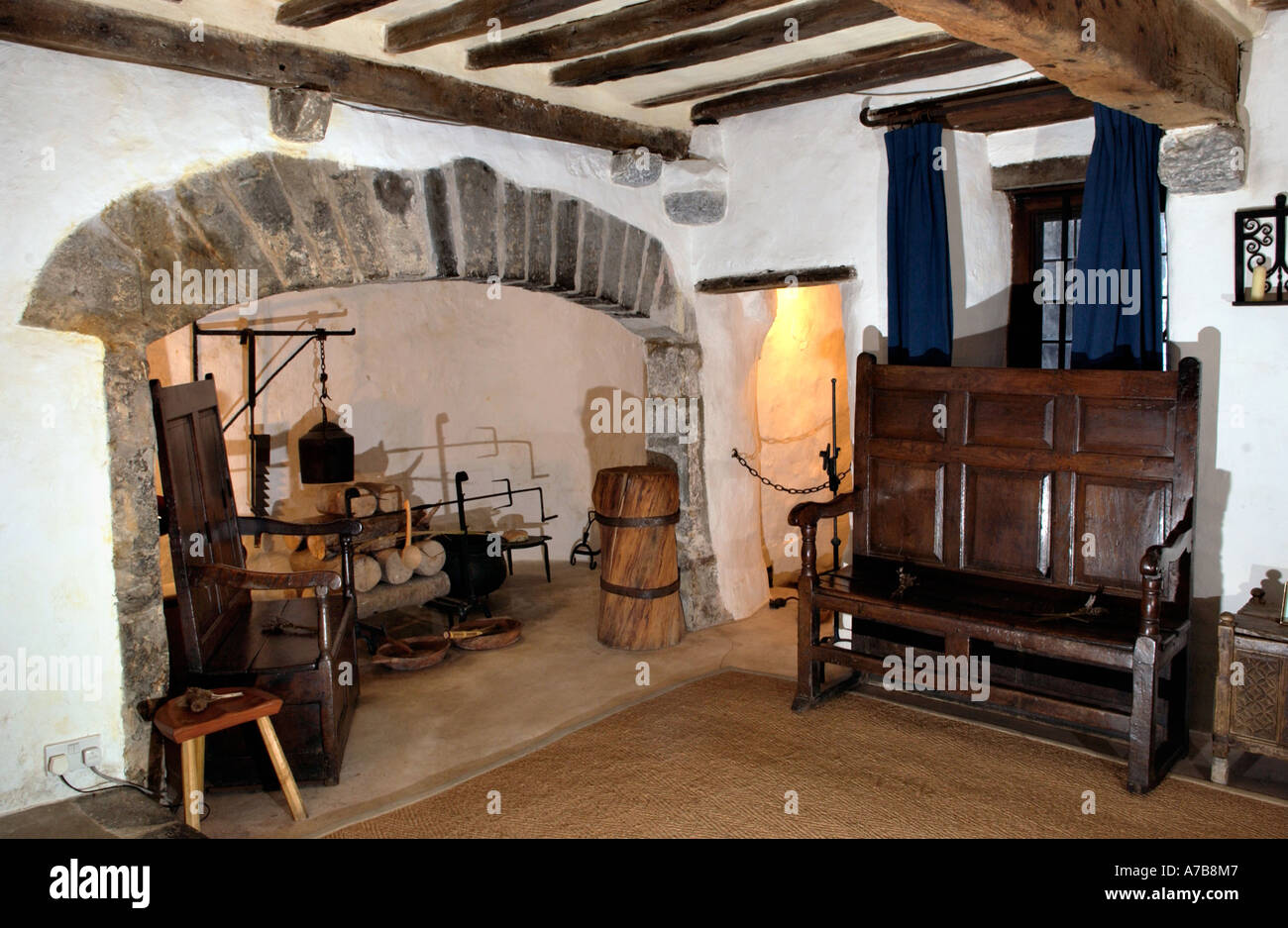 Interior of the Tudor Merchants House late 15th century town house in Tenby  Pembrokeshire West Wales .
