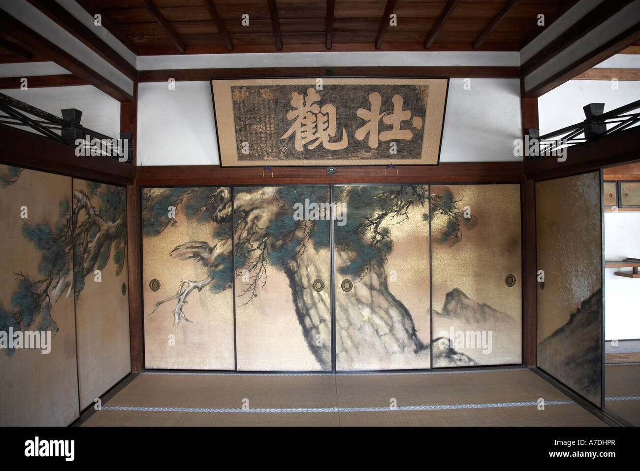 Painted fusuma sliding paper doors in Ninnaji Temple in city of Kyoto Japan Asia Historic traditional building & Painted fusuma sliding paper doors in Ninnaji Temple in city of ...