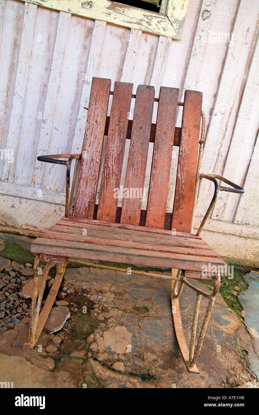 Old Wooden Rocking Chair In Run Down Condition Vinales Cuba