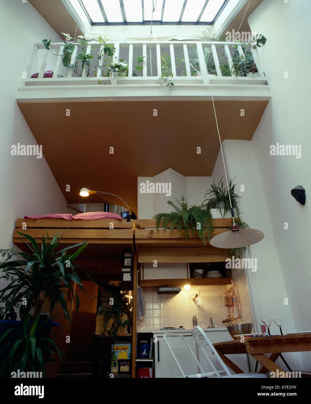 One Room Living Space sleeping platform in vertical one room living space stock photo