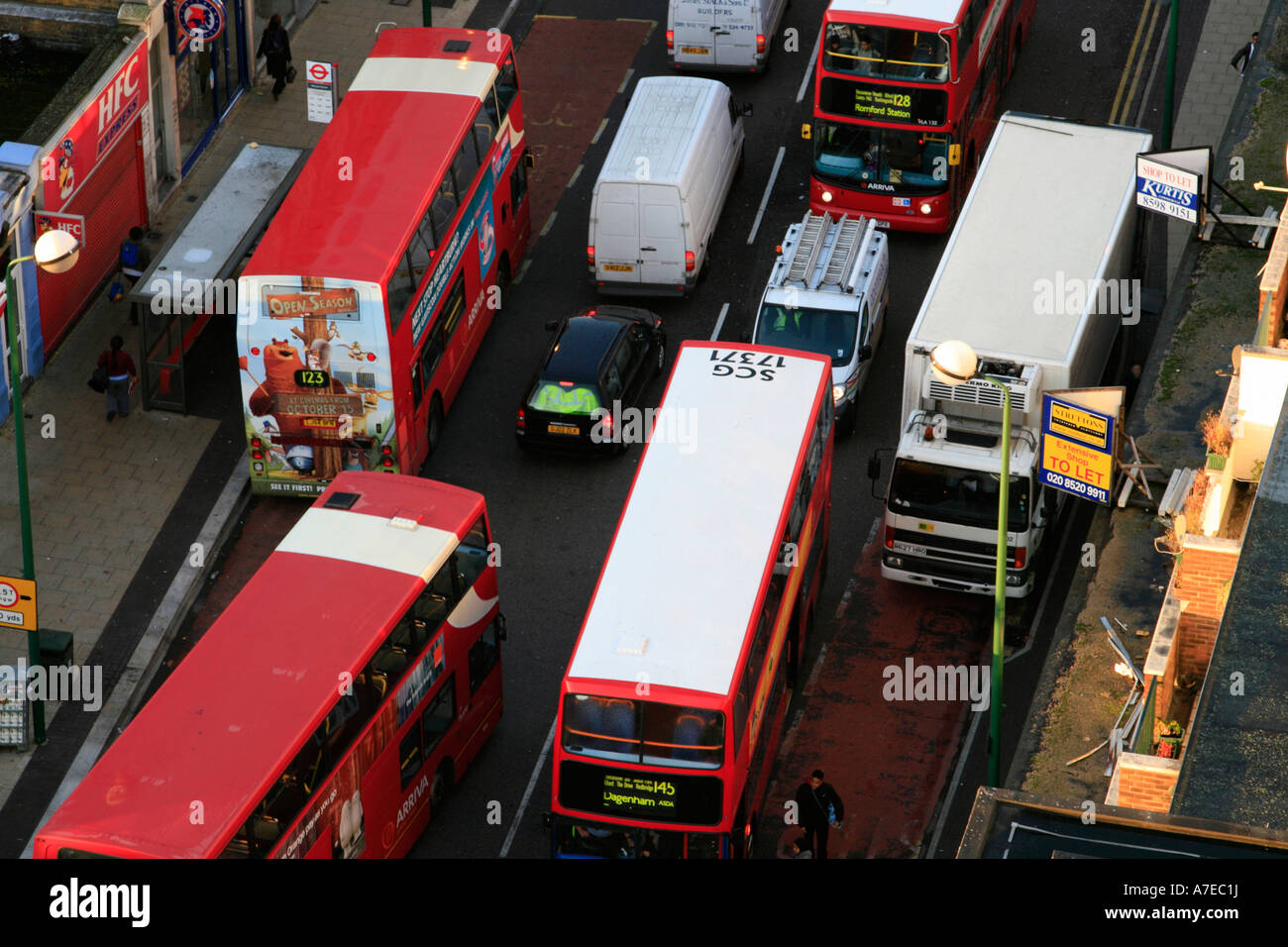 Bus Traffic Jam Ilford Essex North East London England Uk Gb Stock - North east london bus map