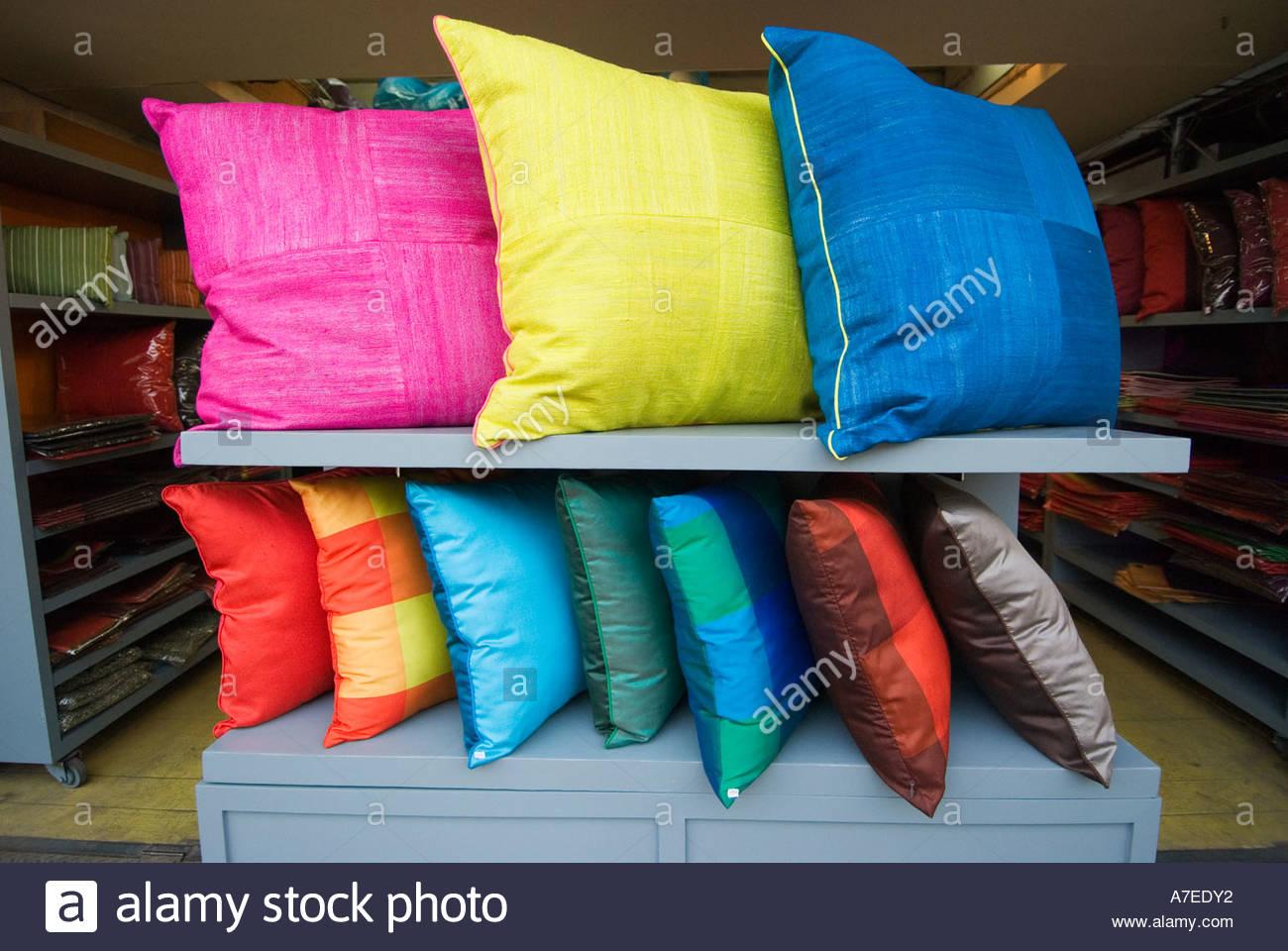 Colourful silk pillows cushions at Chatuchak weekend Market Bangkok Thailand