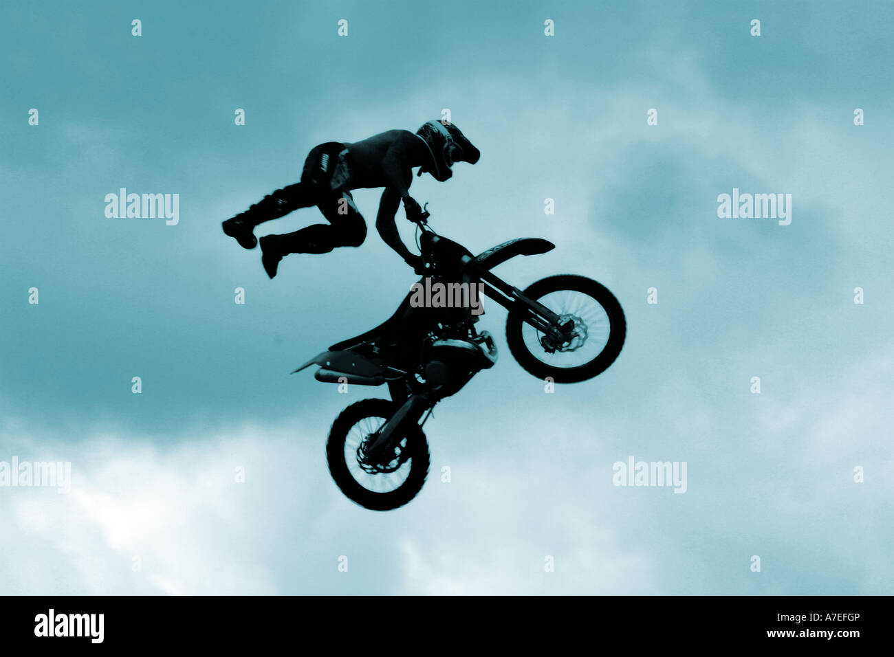 Two Motocross Riders In The Air Stock Photo, Picture And Royalty ...