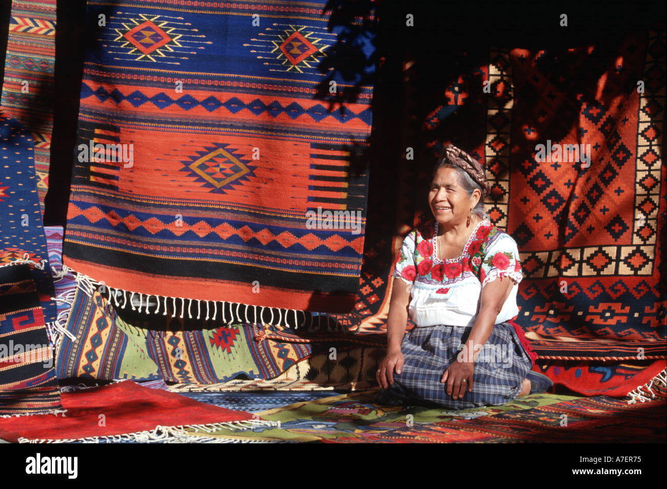 Mexico, Oaxaca, Teotitlan Del Valle. Displaying Zapotec Indian Rugs. (MR)