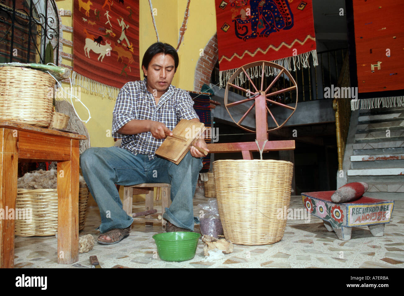 Mexico, Oaxaca, Teotitlan Del Valle. Man Demonstates Techniques For  Handmade Zapotec Indian Rugs. (MR)