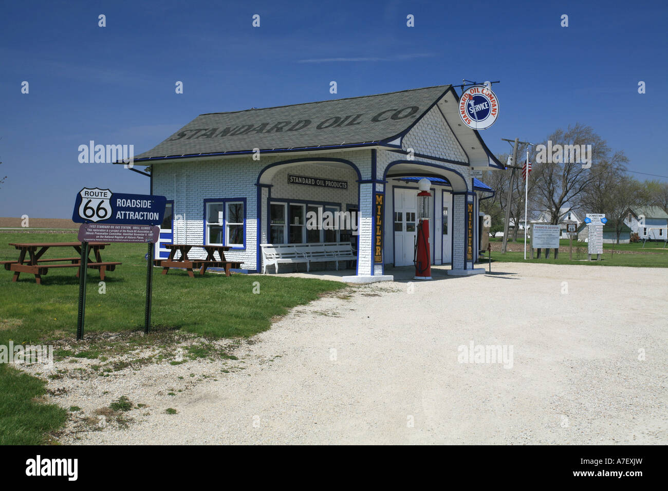 historic gas station and garage along historic route 66. Black Bedroom Furniture Sets. Home Design Ideas