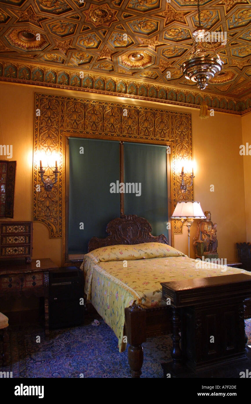 bedroom in medium size guest house hearst castle san simeon stock