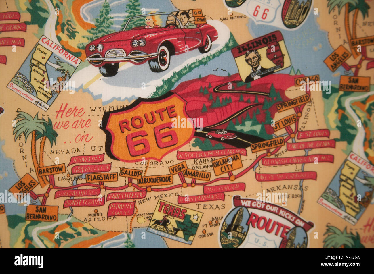 Fabric Map Of Route  At Route  Museum Clinton Oklahoma Stock - Chicago map route 66