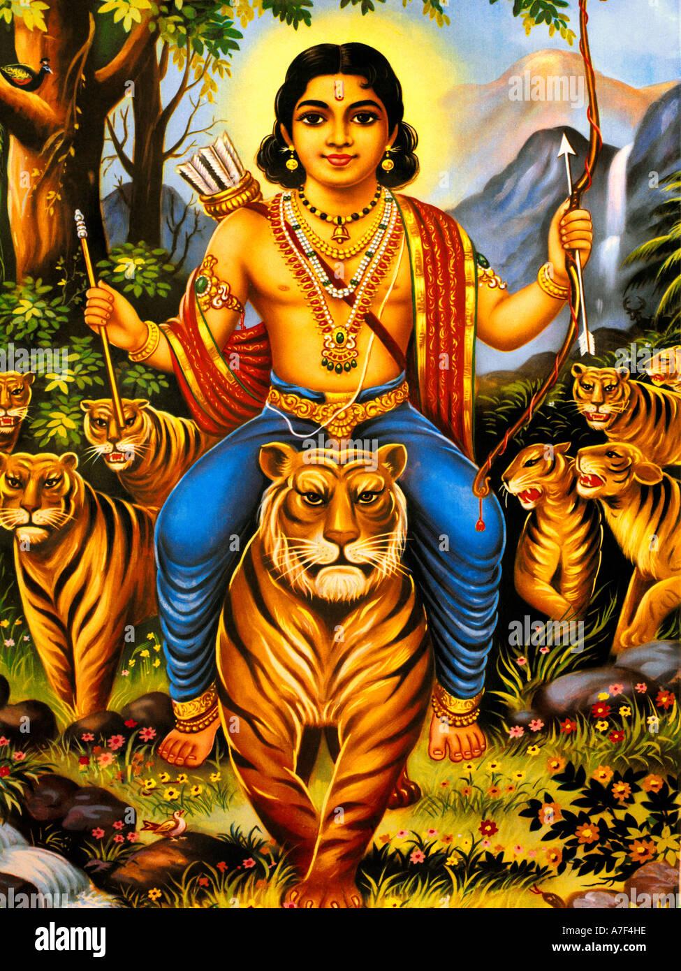 Ayopa Hindu God with Bow and Arrows Stock Photo, Royalty Free ...