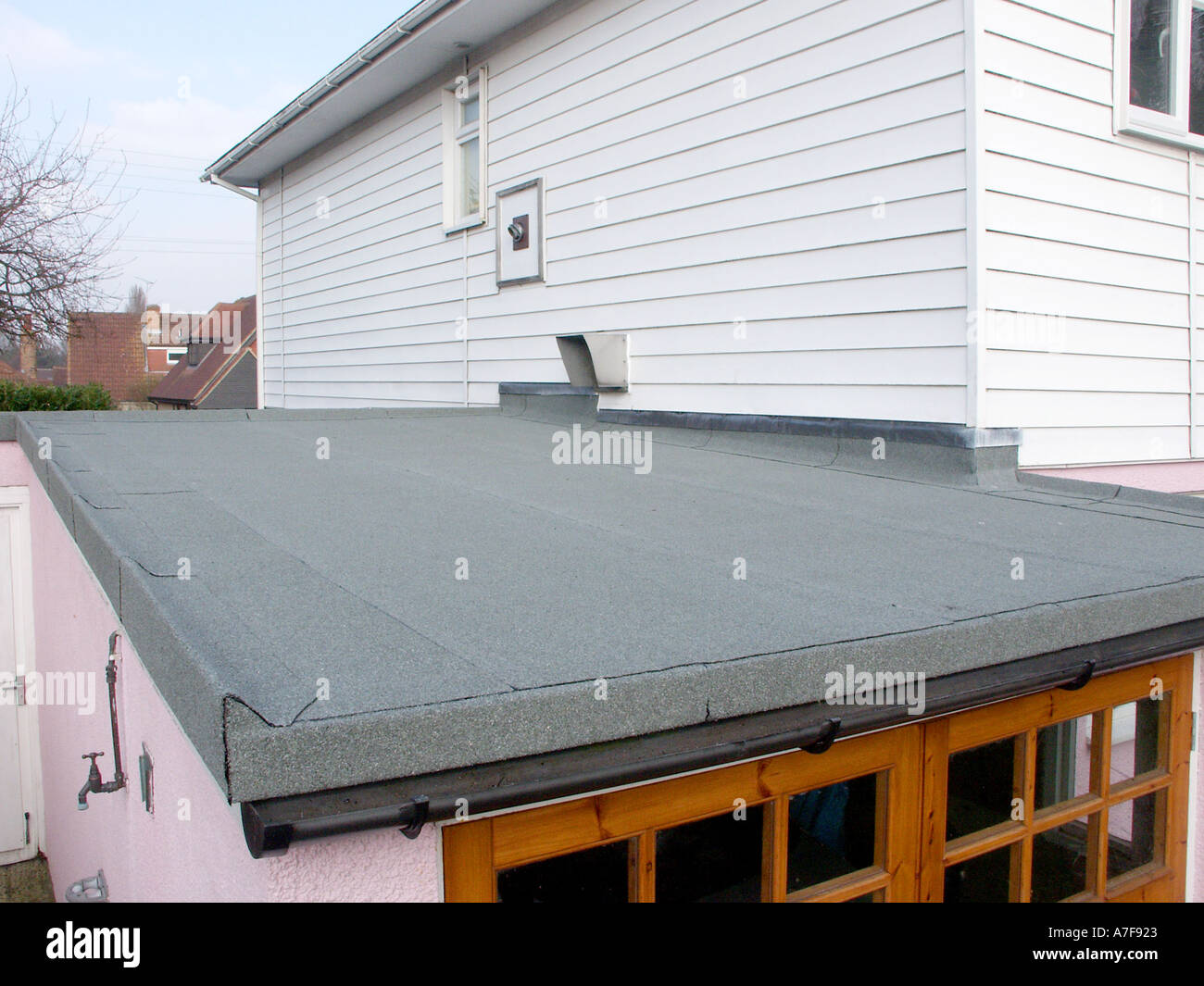 Completed Bituminous Built Up Felt Roofing Replacing Existing Defective  Covering On Attached Car Garage To Domestic