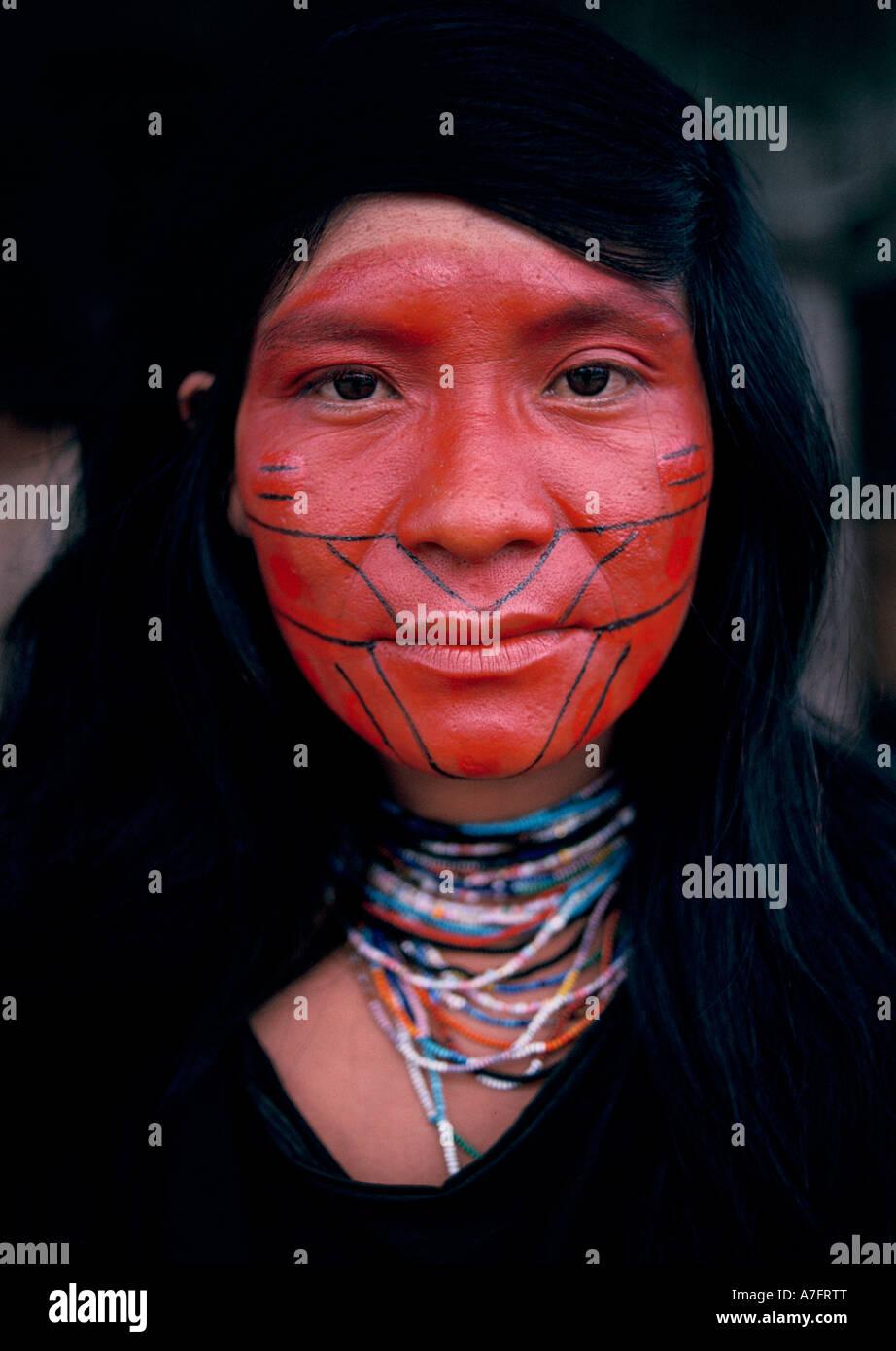 Red Face Paint Amazon Rainforest Plant