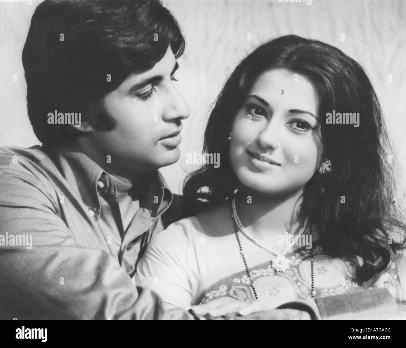 Asian Indian Bollywood Filmstar Actor Amitabh Bachchan With Moushmi Stock Photo Royalty Free