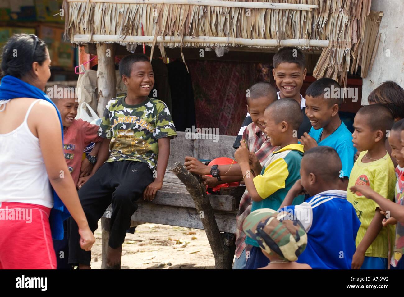 Moken Sea Gypsies Children In Thailand On Ko Surin Thai Island In Mu Ko  Surin National