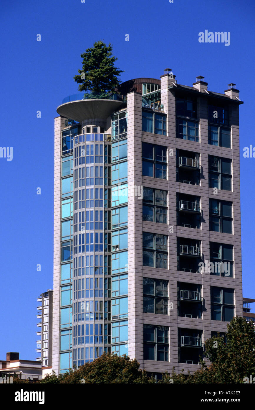 Apartment Building Roof apartment building with tree on roof garden vancouver bc stock
