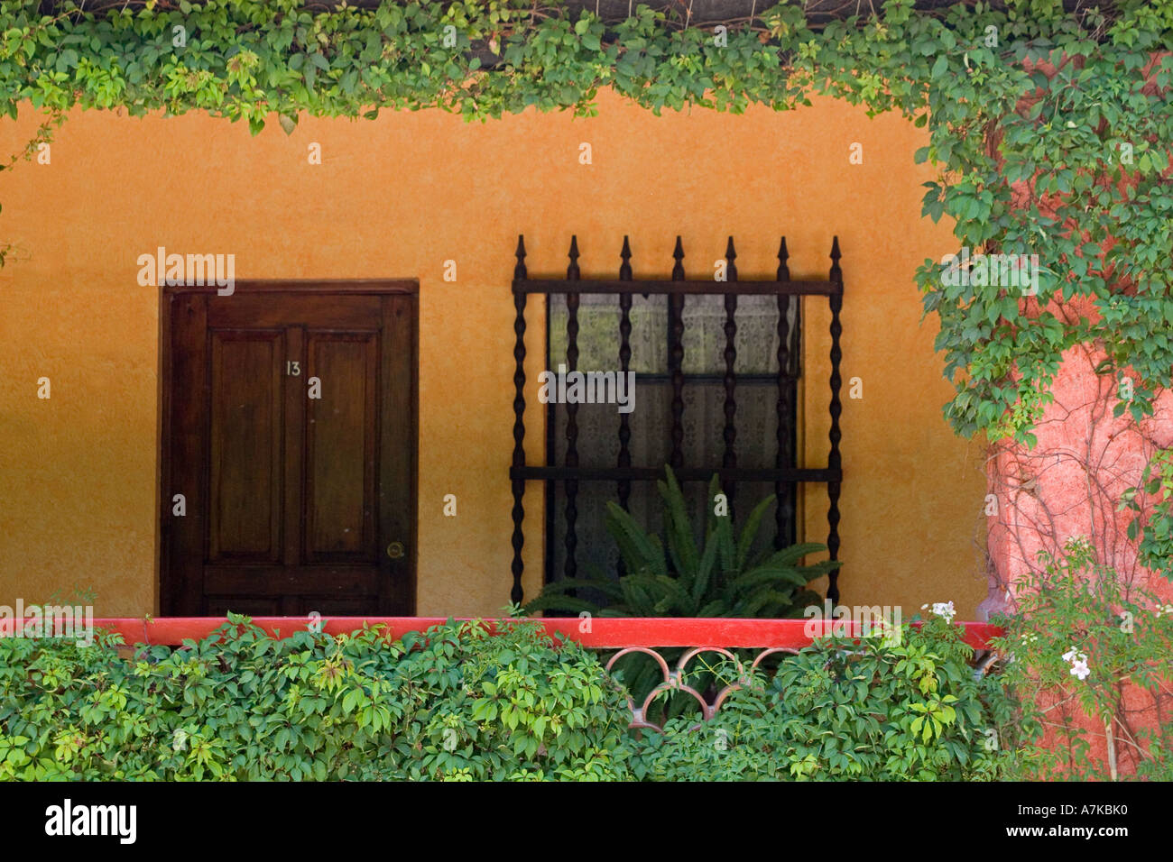 Stock Photo - Wrought iron window grate and wooden door create the Mexican style of this hotel in SAN MIGUEL DE ALLENDE MEXICO : door grates - Pezcame.Com