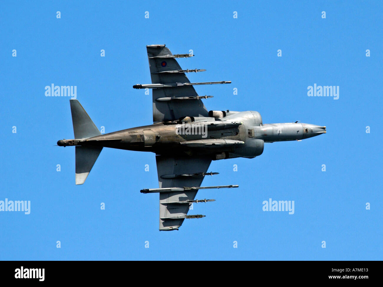 Jump Jet Harrier in flight showing the undercarriage Stock Photo ...