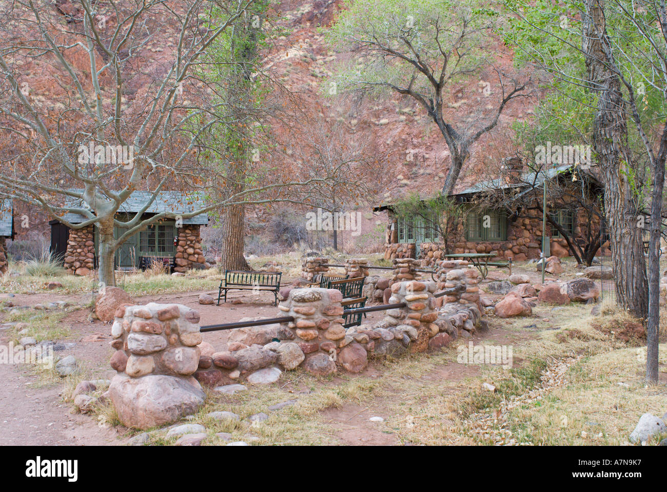 Cabins At Phantom Ranch In Bright Angel Canyon At The Bottom Of The Grand  Canyon