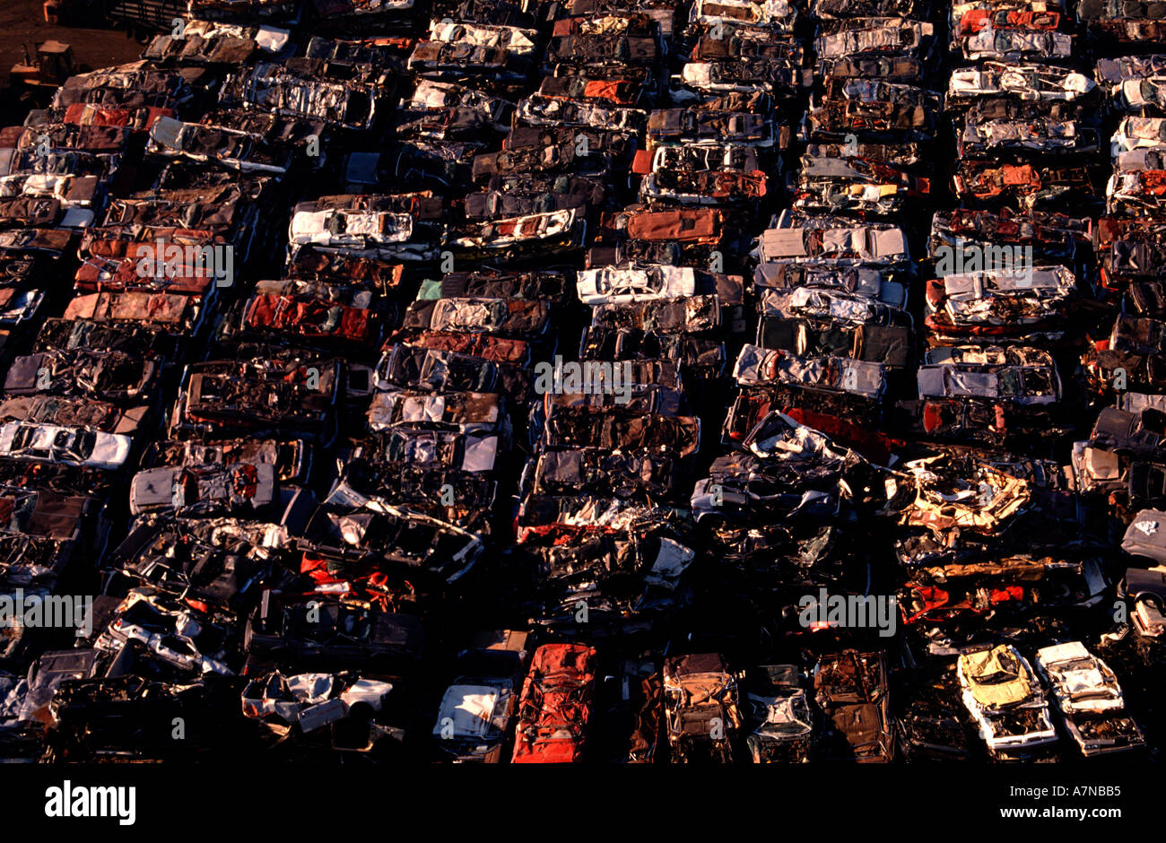Aerial view of junked cars in a junkyard Stock Photo, Royalty Free ...