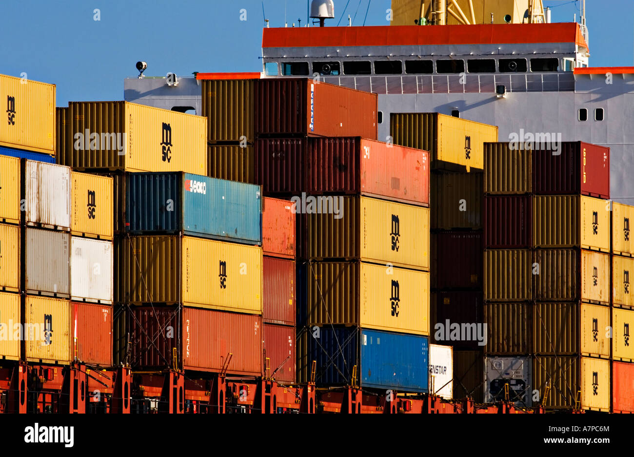 Shipping Industry / Shipping Containers stacked high on the forward deck of  a Container Ship.Port of Melbourne Australia.
