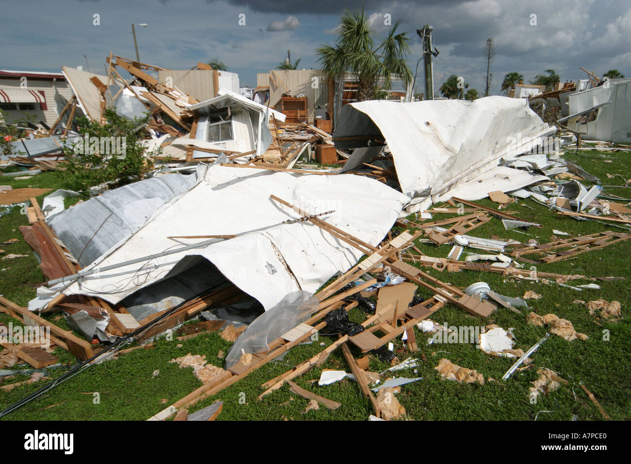 Florida Punta Gorda Mobile Home Modular Trailer Park Hurricane Charley Damage Destruction