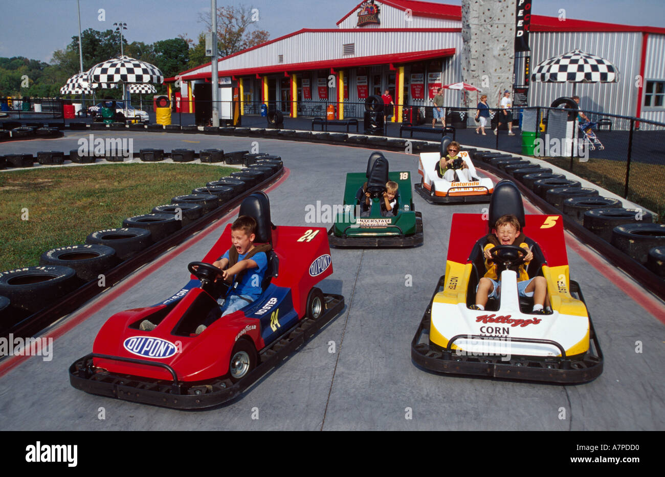 Stock photo tennessee sevierville nascar speedpark kids drive go carts tn030