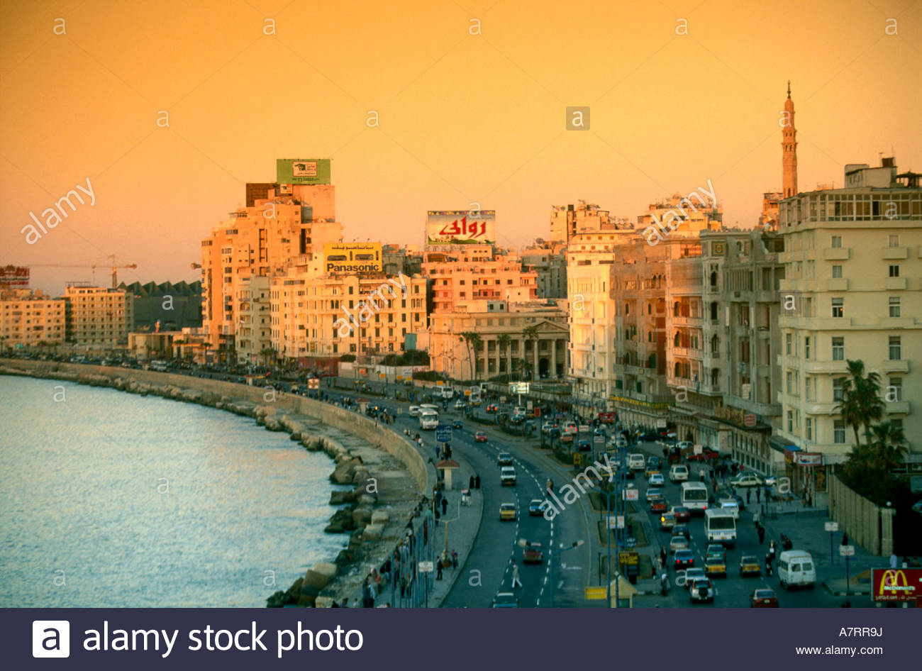 Aerial View Of Traffic On Road Along Coast, Alexandria, Egypt  Stock Image