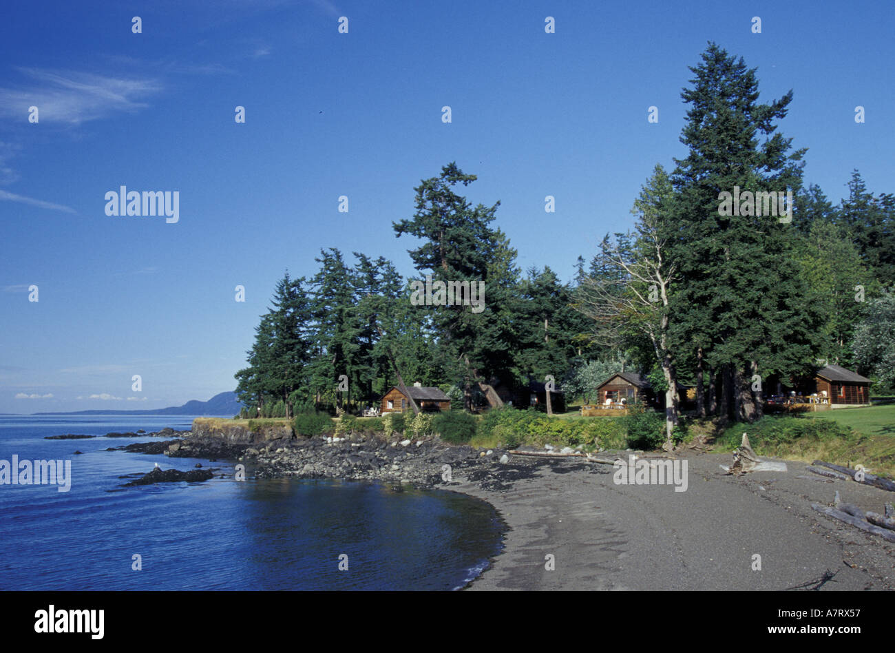 N.A., USA, Washington, San Juan Islands. Cabin At Lonesome Cove Resort  Overlooking Spieden Channel. (PR
