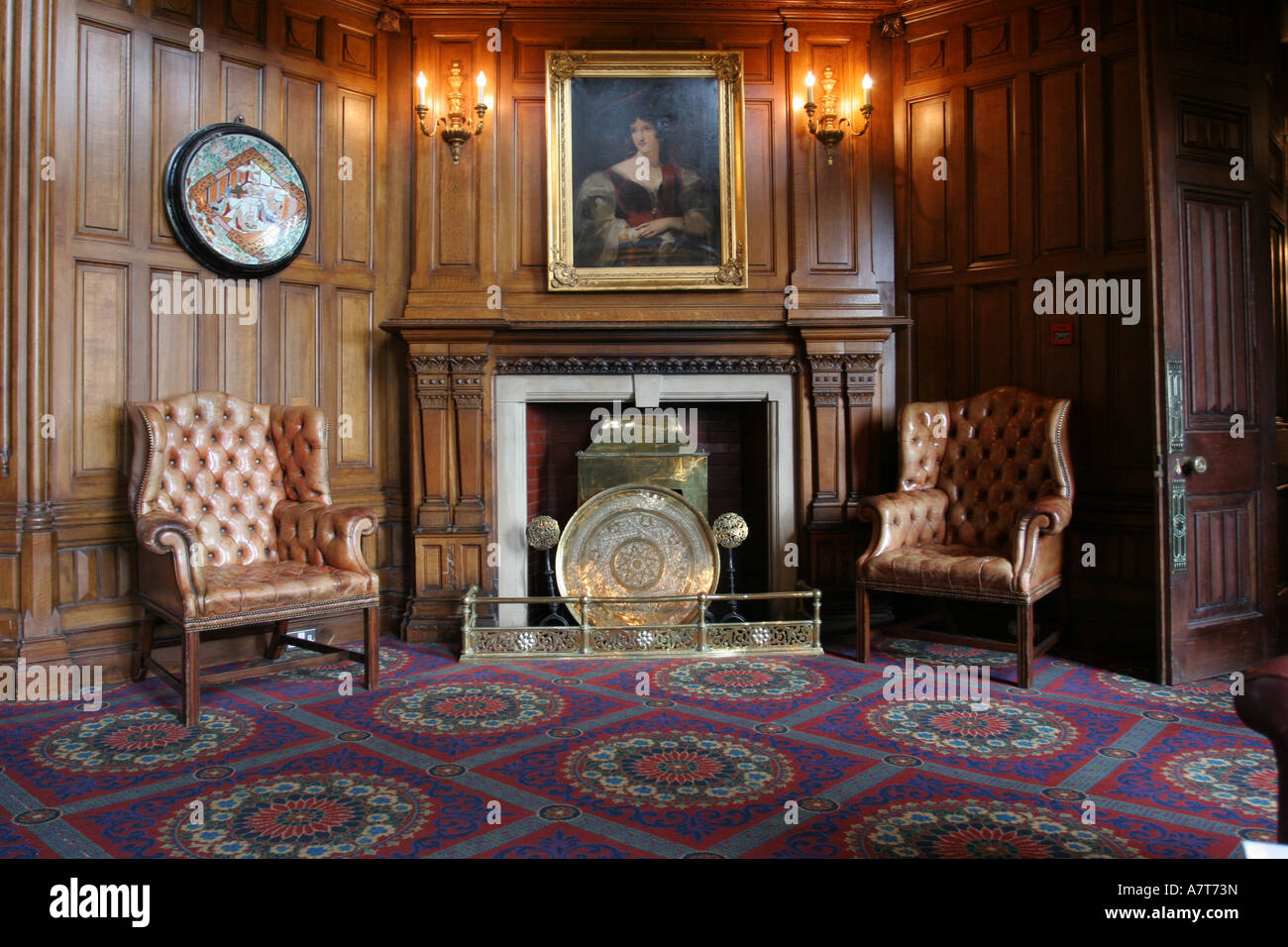 interiors of room, ashford castle, ireland stock photo, royalty