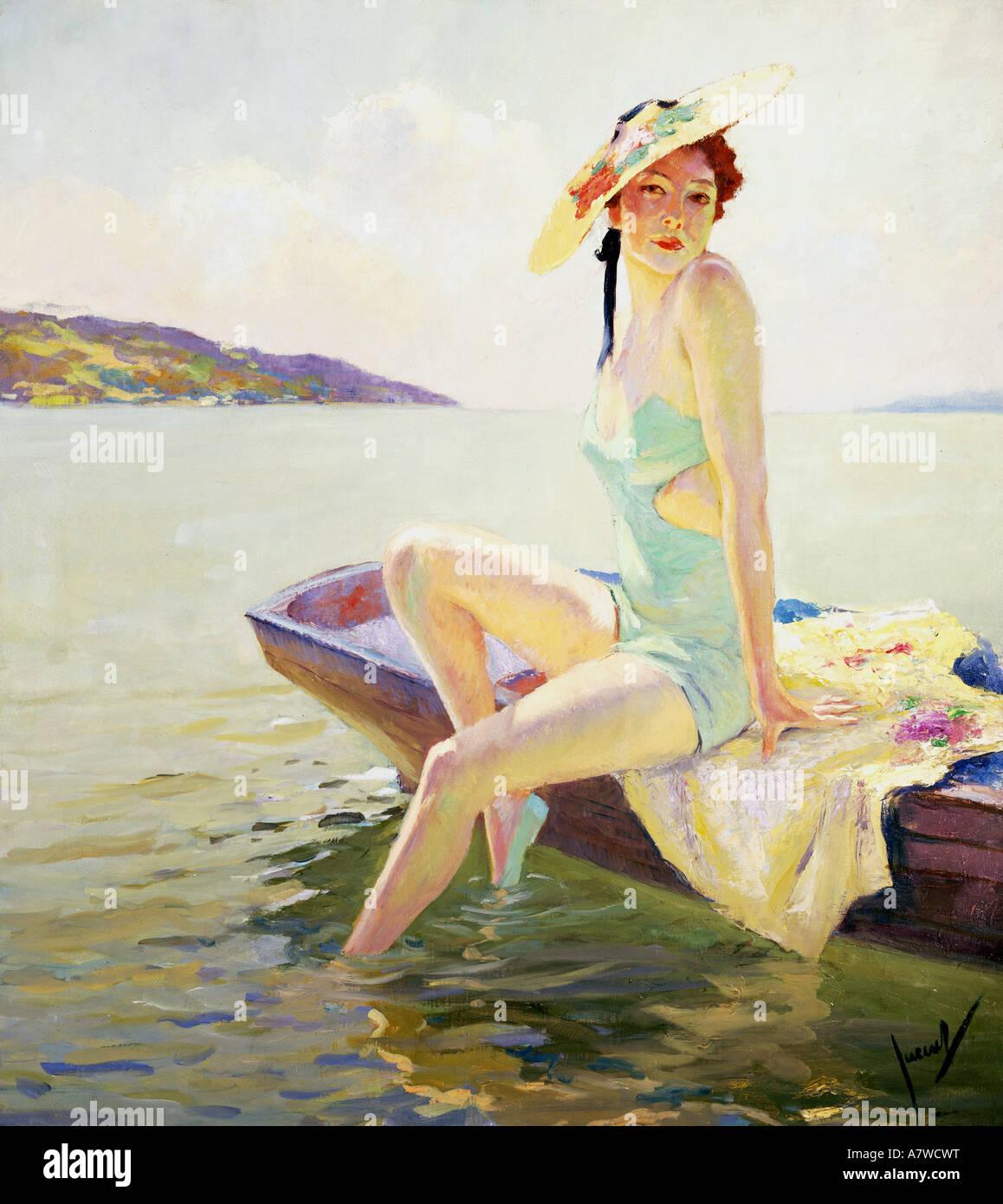 Shade Painting Fine Arts Cucuel Edward 1875  1934 Woman With Sun Shade .