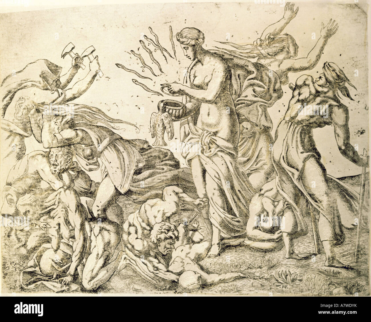 religion ancient world greek mythology pandora releasing the stock photo religion ancient world greek mythology pandora releasing the misfortunes of mankind etching by antonion fantuzzi circa 154