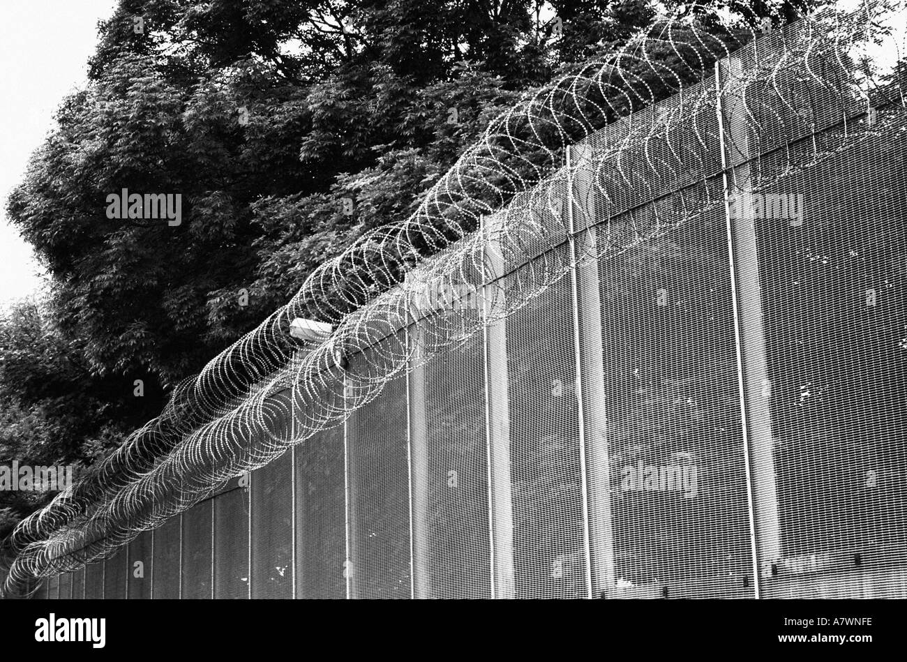 stock photo prison compound security fence in a uk jail