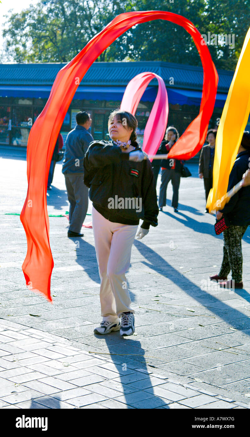 Filename china beijing chinese woman using colorful ribbons as she practices a7wx7g jpg