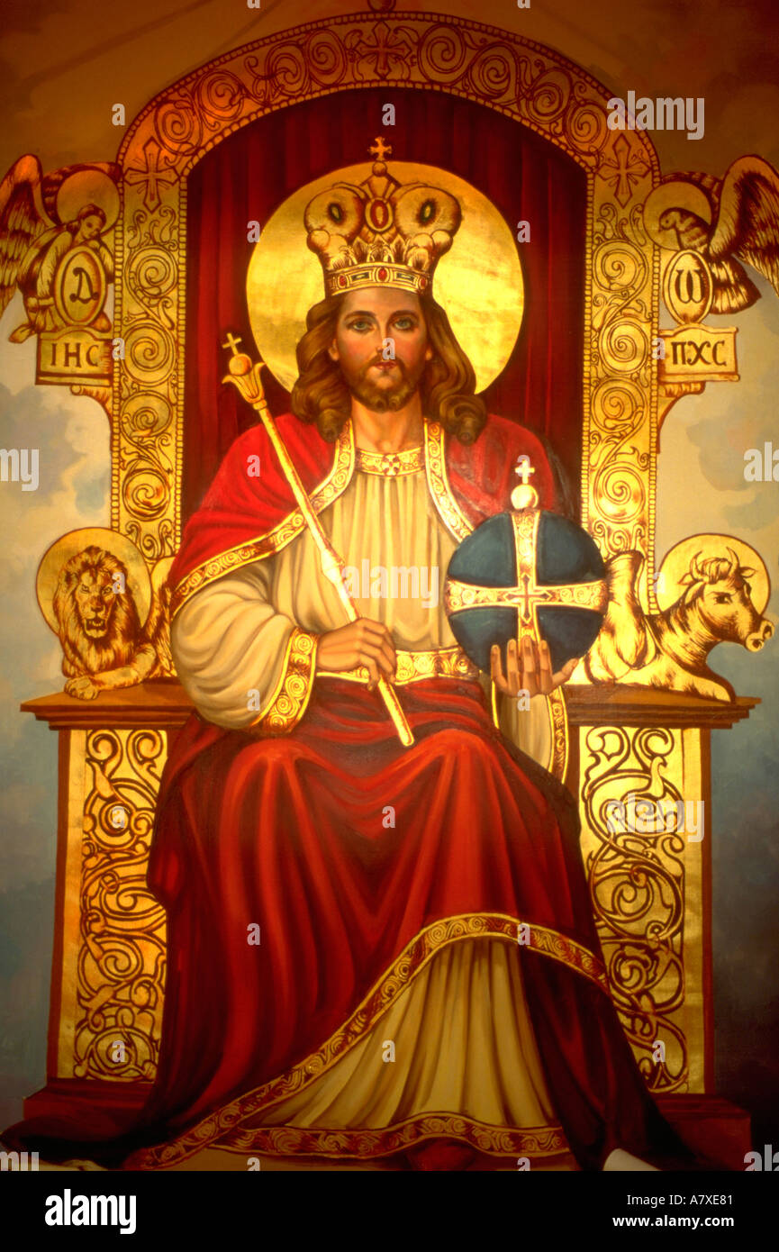 Black throne chair - King Of Kings Jesus Sitting On His Throne On Painting At Coptic