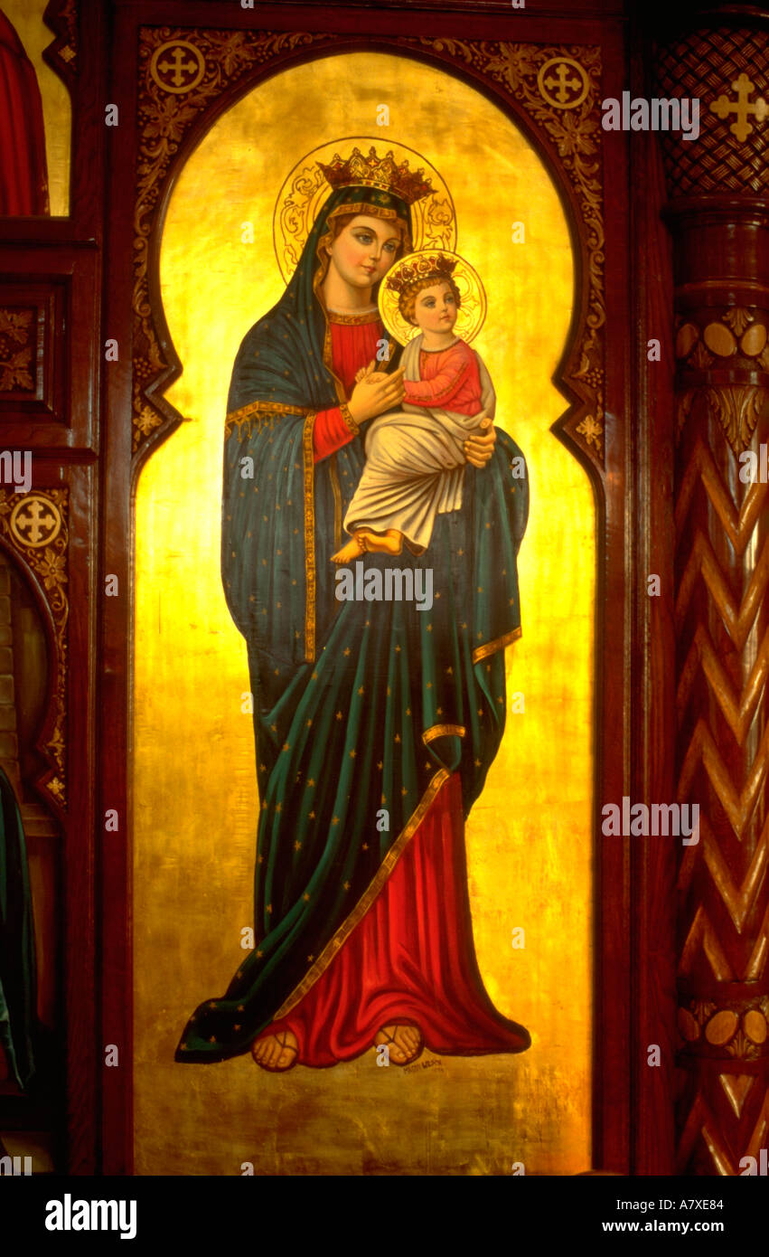 mary and baby jesus on painting at coptic orthodox church burr