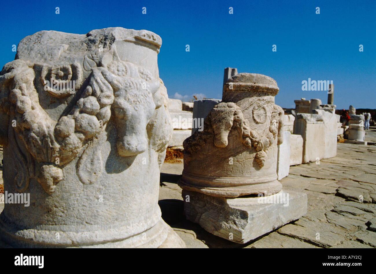Greece, Aegean Sea, Delos. Ancient Greco-Roman ruins ...