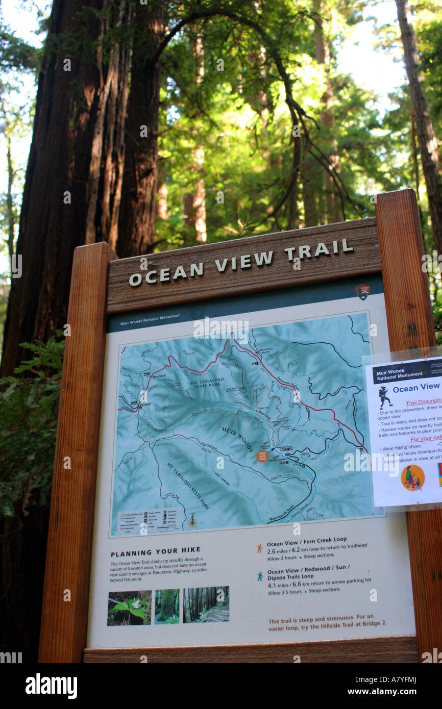Ocean View Trail Sign And Map Muir Woods National Monument Mill - Map usa with oceans