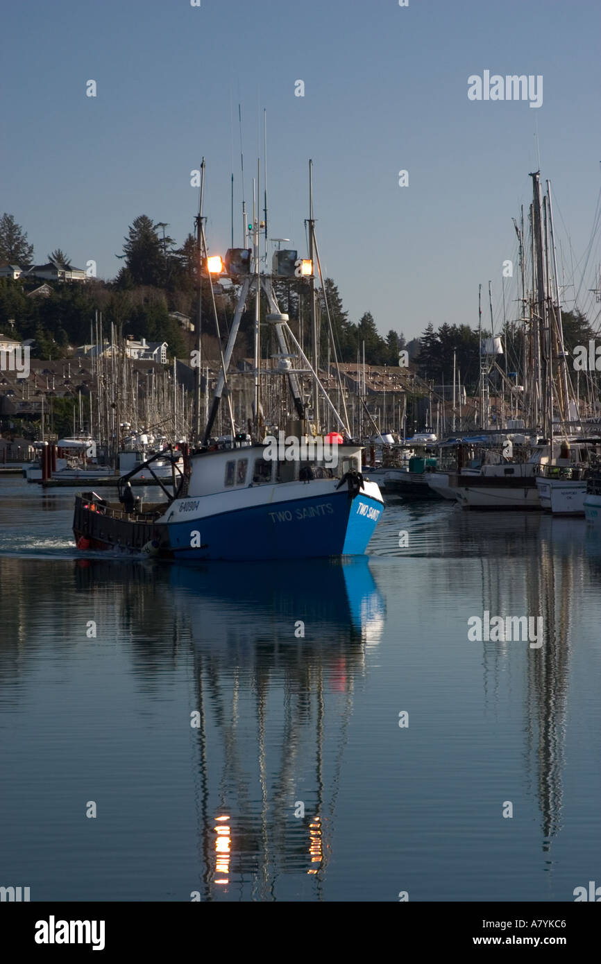 The fishing vessel two saints arrives at the docks in for Newport oregon fishing