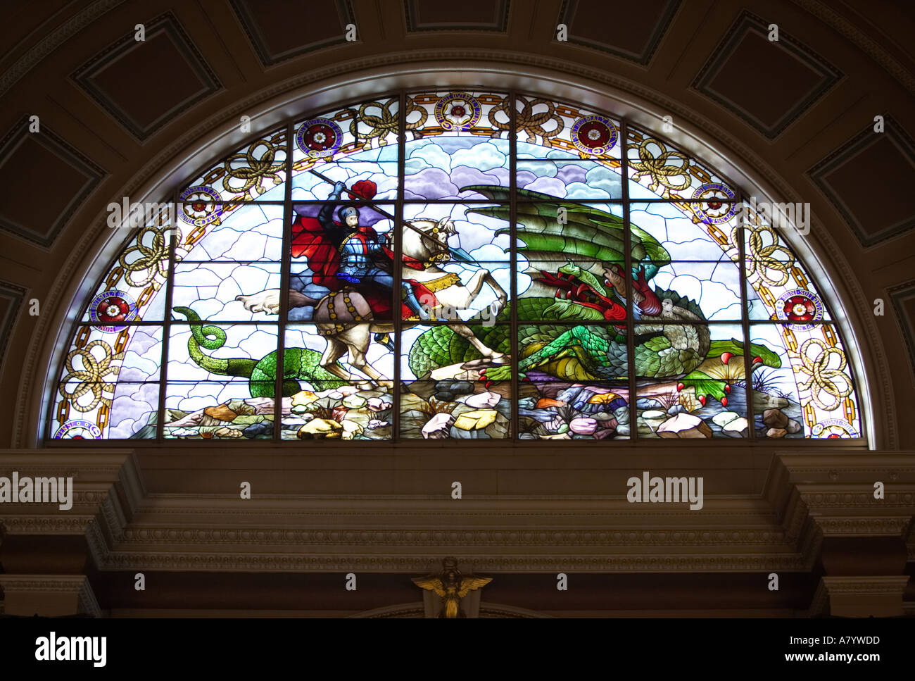 Stained glass window of st george and the dragon in the for Hall window design
