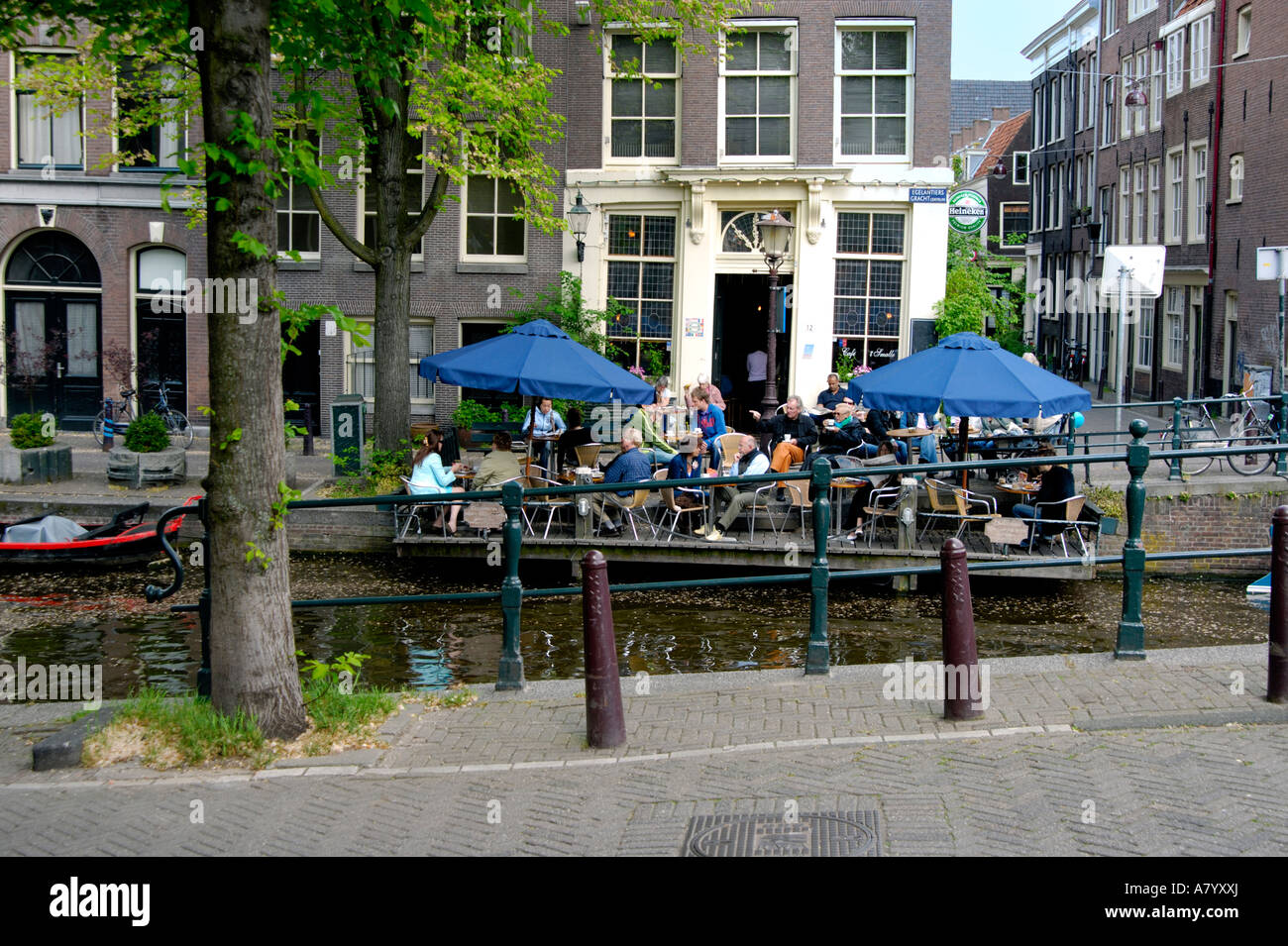 alfresco drinks and snacks at cafe 't smalle, a brown cafe in the