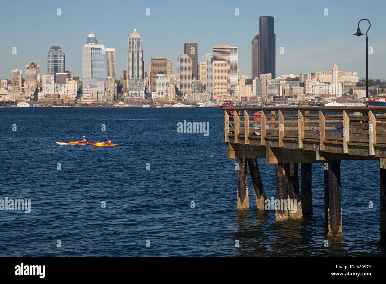 wa seattle seattle skyline and elliott bay with fishing