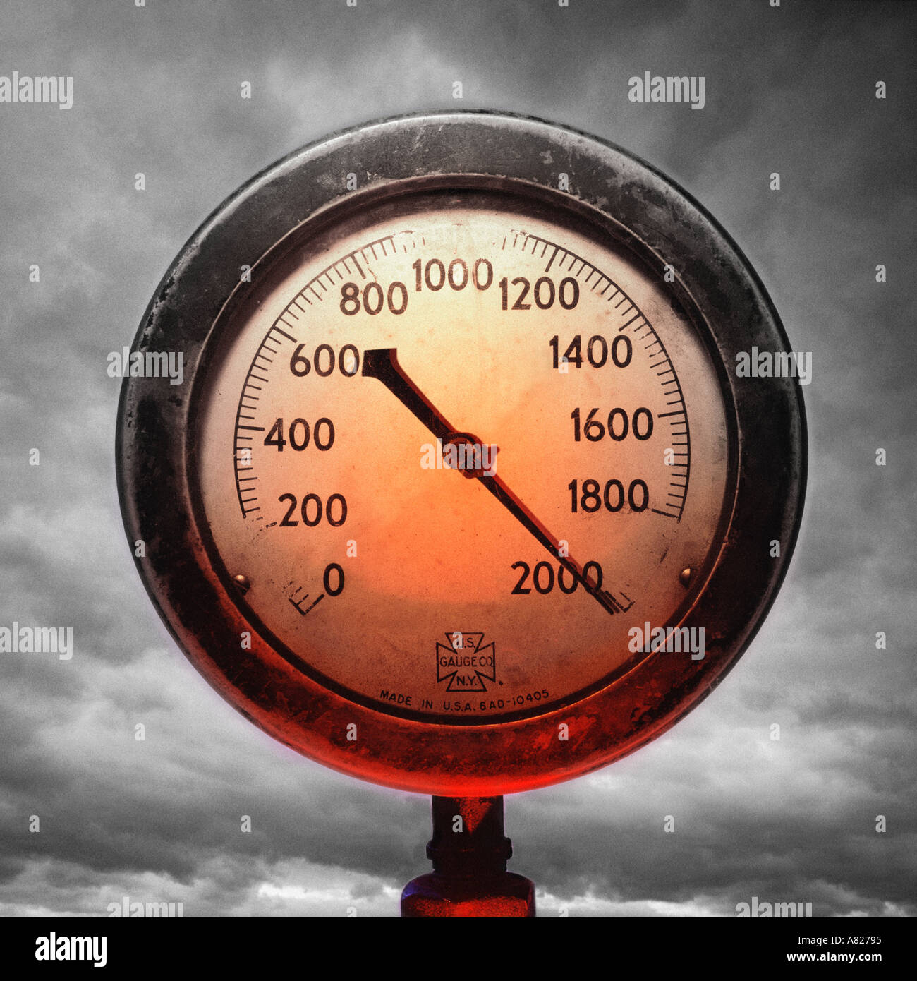 High Pressure Meter : Pressure gauge about to blow stock photo royalty free