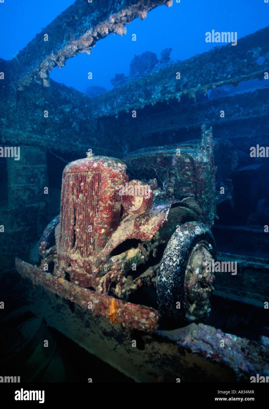 Truck in cargo hold of sunken freighter san francisco maru truk lagoon chuuk micronesia stock